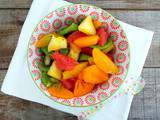 Salade de fruits d'hiver (exotiques) au sirop d'érable (Winter fresh fruit salad with mapple syrup)