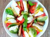 Salade de tomates multicolores avec de la mozzarella (Multicolored tomato salad with mozzarella)