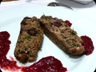Rôti  de pois chiche et sauce aux canneberges